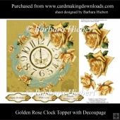 Golden Rose Clock Topper with Decoupage