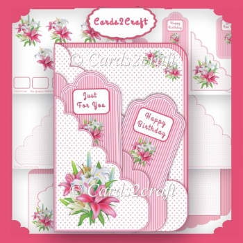 Scalloped edge Lily tag card set