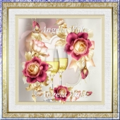Anniversary rose 7x7 card with decoupage