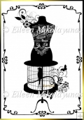 Paris Chic Boutique Birdcage Dressform Silhouette Clipart