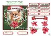 Christmas Poinsettias Watercolour Chihuahia Puppy Dog Topper