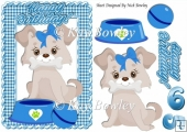 Cute Puppy in blue gingham frame A5
