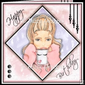 Blonde Birthday Girl Card Front & Inserts