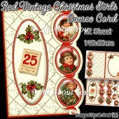 Red Vintage Christmas Girl Cameo Card