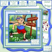 JOGGING HUMOUR MALE 7.5 Decoupage & Insert Mini Kit for a Runner