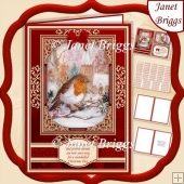 A5 RED & GOLD CHRISTMAS ROBIN Quick Layer Card Kit
