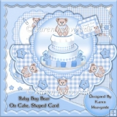 Baby Boy Bear On Cake Shaped Card