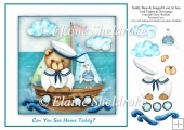 Teddy Bear And Seagull Lost At Sea 8 x 8 Card Topper & Decoupage