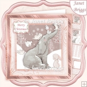 ELEPHANT & RABBITS 7.5 Christmas Decoupage & Insert Kit