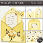 Fancy Envelope Card: Yellow Roses