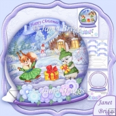 Christmas Snow Globe Bunnies Xmas Shaped Rocker Card Kit