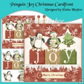 Penguin Joy Christmas Cardfront with Decoupage