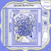 FORGET ME NOTS & BUTTERFLIES All Occasions Quick Card & Insert