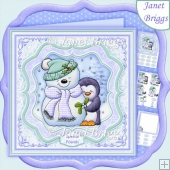 Penguin Hugs 7.5 Christmas Decoupage & Insert Kit