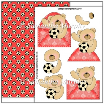 Red Football Bear PDF Decoupage Download
