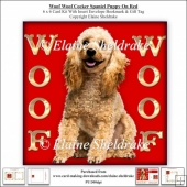 Woof Woof Cocker Poodle Puppy Dog On Red 6 x 6 Card Kit