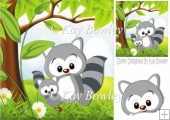 Cute mum and baby Raccoon in the meadows with flowers 8x8