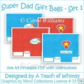4 Super Dad Gift Bags - Set 1
