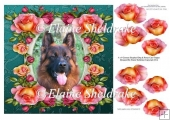 "German Shepherd Dog & Roses (1) 8"" x 8"" Card Topper + Decoupage"