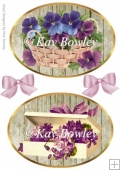two lilac vintage pansies & flower toppers in a basket
