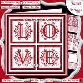 RED LOVE SQUARES All Occasions 7.5 Quick Layer Card & Insert