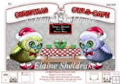 Christmas Owls Cafe, Shaped Cut And Fold Card Kit With Decoupage