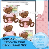 GSD Print n Cut Teddy in Pink Decoupage Set