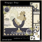 Happy Day Rooster Topper Cardkit blue