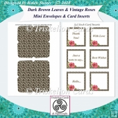 Dark Brown Leaves & Vintage Roses Mini Envelopes & Card Inserts