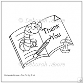 Book Worm Thank You Teacher Uncoloured