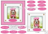 Spectacle Dogs In Pink Hats (6) - 6 x 6 Card Topper & Greetings