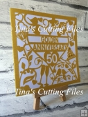 50th Golden Wedding Anniversary Card no2 SVG cutting file