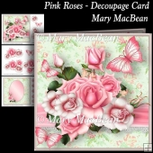 Pink Roses - Decoupage Card