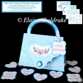 Blue Faux Embossed Designer Handbag Card Kit With Insert & Verse