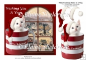 White Christmas Kitten Cat In A Mug & Decoupage