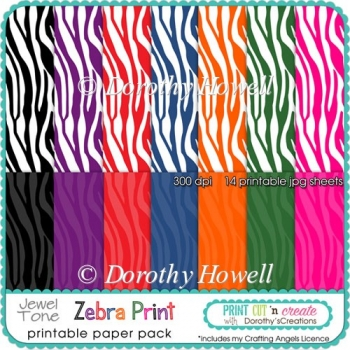 Zebra Print Jewel Tone Printable Papers