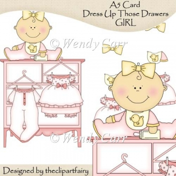 A5 Card Dress Up Those Drawers GIRL(Retiring in July)