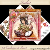 7 x 7 Card Topper and Insert Steampunk Feathers