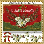 White Poinsettia Envelope Card Front
