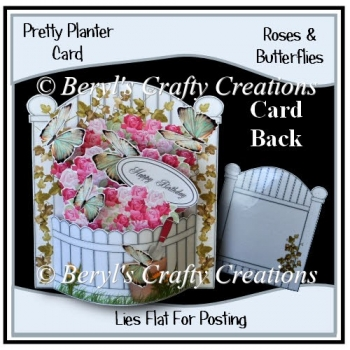 Pretty Planter Card - Roses & Butterflies