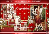 Art Deco Lady Lily Christmas 4 Sheet mini Kit Red