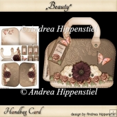 New Handbag Card with creme Roses and Butterflies