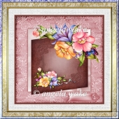 summer flowers 7x7 card with decoupage