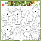 Betsy Bunny Loves Easter Commercial Use Digital Stamps
