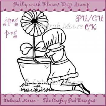 Home :: Digital Stamps / Line Art :: Polly with Flower Digital Stamp