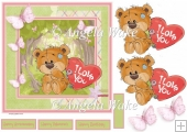 Love bear and butterfly 7x7