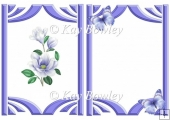 pretty purple magnolias with butterflies A5 insert