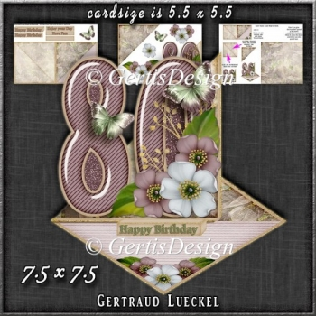 Vintage Easel 80th Birthday Card Kit 1182
