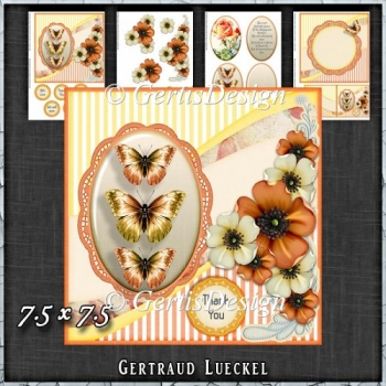 Vintage Shabby Flower Card Kit Orange 1442