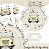 Ready to Print Circle Frame Wedding Car